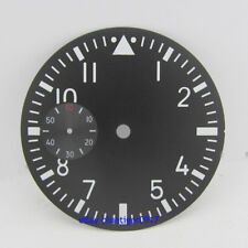 parnis 38.9mm black watch dial fit SEAGULL hand wind 6497 movement white numbers