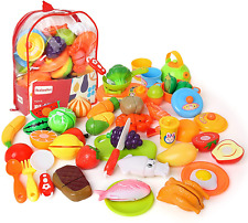 BeebeeRun Play Food,Cutting Fruit and Vegetables,Toddler Toys Kitchen Pretend 3