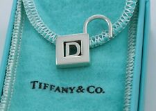 Tiffany & Co Sterling Silver Letter D Lock Charm Pendant For Necklace / Bracelet
