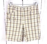 Womens Columbia Plaid Shorts Size 8 Beige Brown Walking Bermuda Outdoor Cotton