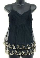 Ann Taylor Womens Tank Top Cami Black Beige Floral Embroidery Lace Lined XS