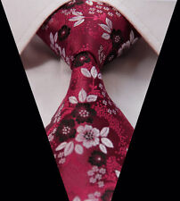 Mens Tie Red Shade Shiny Floral Paisley Woven Jacquard Silk Wedding Necktie Ties