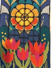 Needlepoint Embroidery tapestry Tulips Stained Glass  7.5 X 11         #121916