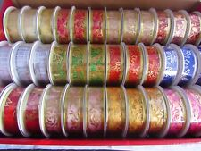 25mm 3 Yard Wired Organza Ribbons in Assorted Colours with Gold or Silver Design