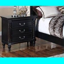 Hemiton 3 Drawers Bedside Table - American Poplar + Timber Veneer - Rubbed Black