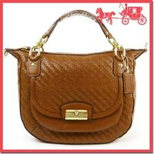 COACH F23048 Kristin Woven Woven Leather Satchel - Brown