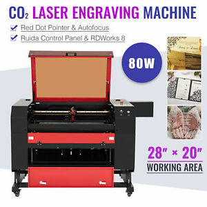 OMTech CO2 Laser Engraver Machine with Ruida Controls Autofocus & 28x20 Bed 80W