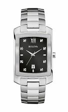 Bulova Men's 96D125 Diamond Markers Black Dial Quartz Silver Tone Bracelet Watch