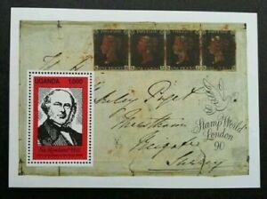 [SJ] Uganda 150th Anniversary Of Penny Black 1990 Historic Postal (ms) MNH