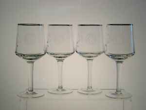 """FIRST LOVE CRYSTAL Water Goblets 7 1/4"""", Roses, Silver Trim, SET of FOUR"""