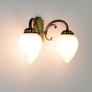 Edle Doppel Wandleuchte Wandlampe Jugendstil mit Zugschalter Flurleuchter Lampen