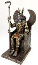 Egyptian Anubis Jackal W/ Cobra Scepter on Throne Statue Antique Bronze Finish