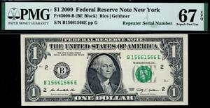 2009 $1 New York *REPEATER* Federal Reserve Note FRN • PMG 67 EPQ • 3000-B
