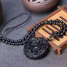 Men's Natural Obsidian Handmade Taiji-BaGua Lucky Pendant Beads Chain Necklace