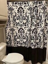 Black & White Damask 72x72 inch Mildew Resistant Linen Fabric Shower Curtain