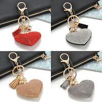 Tassel Heart Crystal Full Rhinestone Handbag Charm Pendant Bag Keyring Key Chain