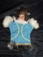 Vintage Alaska Native Eskimo Hand Puppet Doll Toy Blue Kuspuk Body Fur Trim Girl