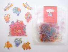 Japanese kawaii animal circus sticker flakes! Cute elephants, bears, lions, tent