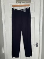 BNWT M&S Collection Women's Navy Mix Tailored Straight Leg Trousers Size 8 Long