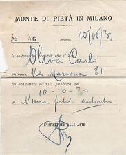 RICEVUTA DI ACQUISTO MONTE DI PIETA' DI MILANO 1930 19-73