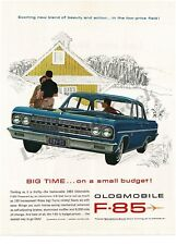 1963 OLDSMOBILE F-85 Blue 4-door Hardtop on the farm art VTG PRINT AD