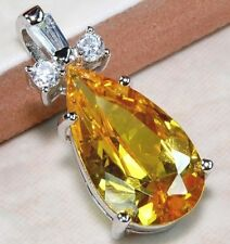 925 Silver Filled Citrine Topaz Gemstone Crystal Waterdrop Pendant Necklace Gift