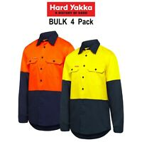 Mens Hard Yakka Shirt 4 Pack Hi-Vis Vented Cotton Twill Work Long Sleeve Y07950
