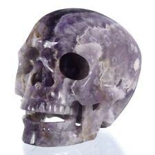 "5.04""Natural Chevron/Amethyst Cluster Skull carving,Reiki Healing 26Y80"