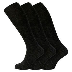 Mens 3 Pack GREY CHARCOAL Soft Lambswool Extra Long Knee High Socks Uk 6 -11