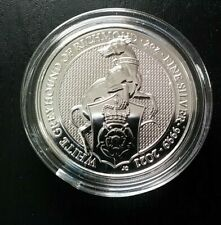 2021 2oz British Silver Queens Beast White Greyhound Coin Brilliant Uncirculated