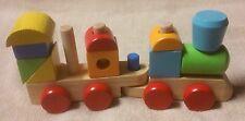 CIRCO Children's Wooden Train Toy w/ Wood Blocks 12 Piece Set