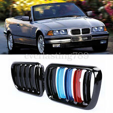 BMW E36 3-series FRONT GRILLE Dual Slat KIDNEY Gloss BLACK M-COLOR 94-97
