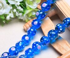 10pcs 14mm Round Handmade Lampwork Glass Flowers Dot Charms Loose Beads Sky Blue