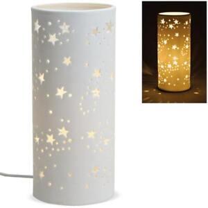 Tischlampe Nachttischlampe Leuchte STERNE Keramik mit Kabel weiß 1 Stk Ø 12x28 c