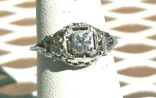 18K White Gold Floral Filigree Engagement Ring -  Antique Deco