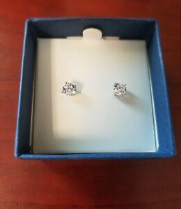 QVC Diamonique Platinum Clad 100-Facet 1.00 cttw Stud Ladies Earrings