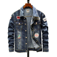 Men's Embroidered Patch Jean Jackets Casual Paneled Denim Jacket Coat Outwear