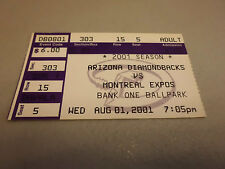 Montreal Expos vs Arizona Diamondbacks August 1,2001 Baseball Game Ticket Stub