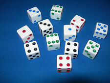 NEW 12 ASST WHITE DICE w/ RED GREEN BLUE AND BLACK PIPS 16MM 3 OF EACH COLOR