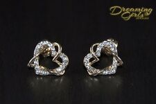 Rose Gold Plating Austrian Crystal Double Hearts Stud Earrings