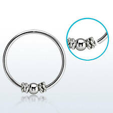 1 Nose Hoop Ring Seamless With Balinese Twist Wire Design 22g 8mm Silver #HR11