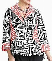 IC by Connie K Women Jacket Black Size Large L Open Collar Colorblock $158 #338