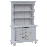 1/12 Dollhouse Miniature Cabinet White Wood  Furniture Multifunction Bookcase