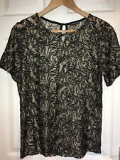 Warehouse Brand Black and Gold Leaf Pattern Short Sleeve Top Blouse Size 12 UK
