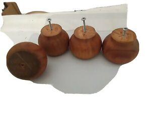 4 Solid Pine Rounded Wooden Bun Feet (approx 9cm wide, 6cm tall)