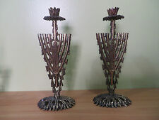 "Vintage SHABBAT CANDLE LIGHT LAMP JERUSALEM HEBREW JUDAICA Brass Bronze 9"" Gift"