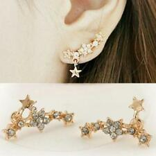 2pcs Shooting Star Climber Earrings Set Rhinestone Dangle Flower Jewelry Gold