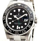 Mens Rolex Stainless Steel GMT-Master II Watch Black Dial Ceramic Bezel 116710