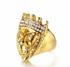 Crown Lion Head with Rhinestones 316L Stainless Steel Gold Ring Men/ Women 9-12