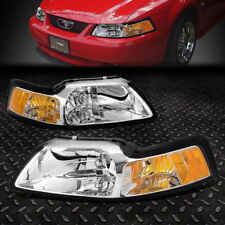 FOR 1999-2004 FORD MUSTANG PAIR CHROME HOUSING AMBER CORNER HEADLIGHT/LAMP SET